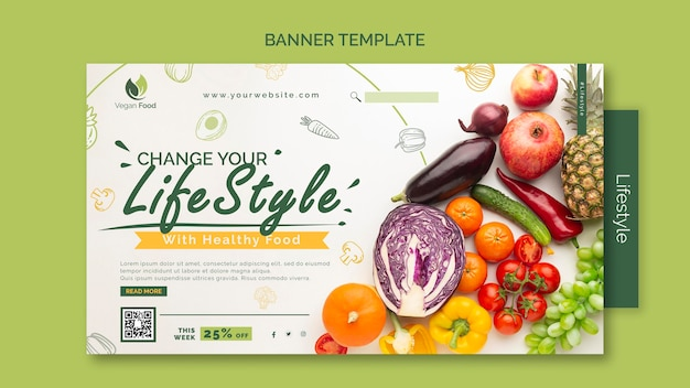 Modelo de banner de estilo de vida de alimentação saudável