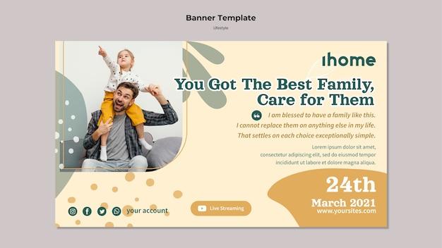 Modelo de banner de estilo de vida familiar