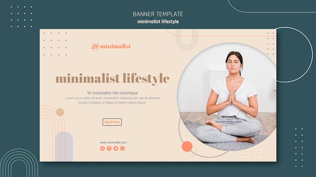 Modelo de banner de estilo de vida minimalista