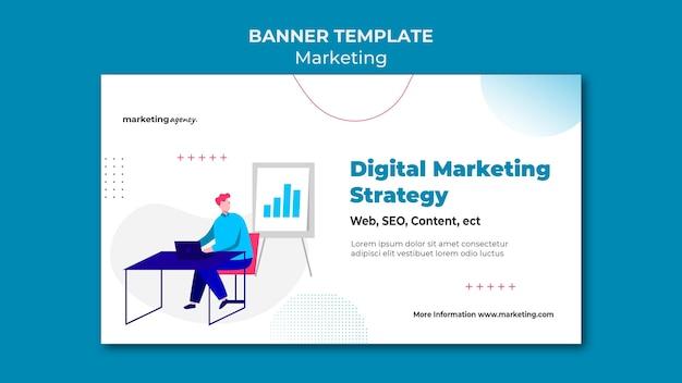 Modelo de banner de estratégia de marketing digital