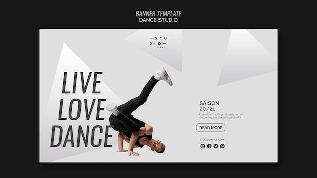 Modelo de banner de estúdio de dança de amor ao vivo