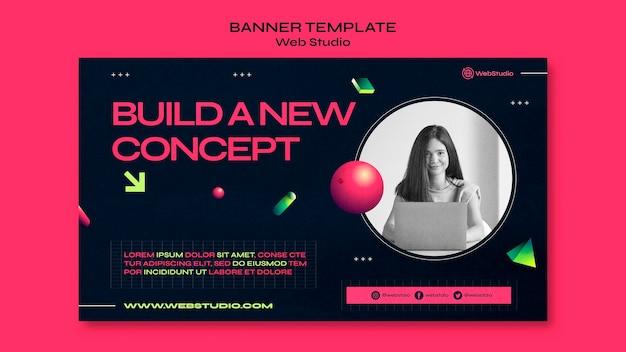 Modelo de banner de estúdio web