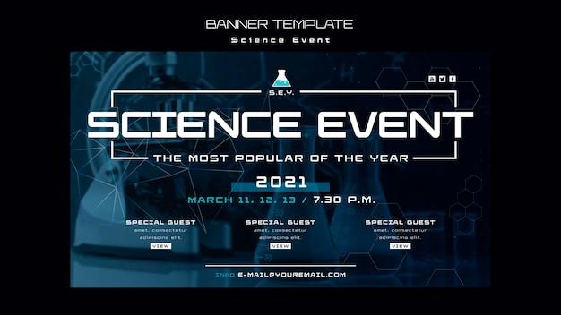 Modelo de banner de evento de ciência