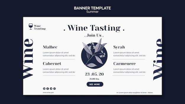 Modelo de banner de evento de degustação de vinhos