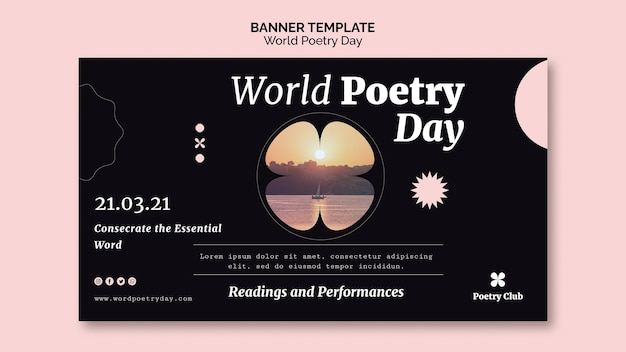 Modelo de banner de evento do dia mundial da poesia