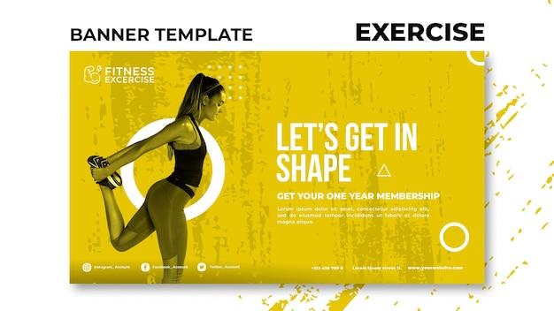Modelo de banner de exercícios físicos