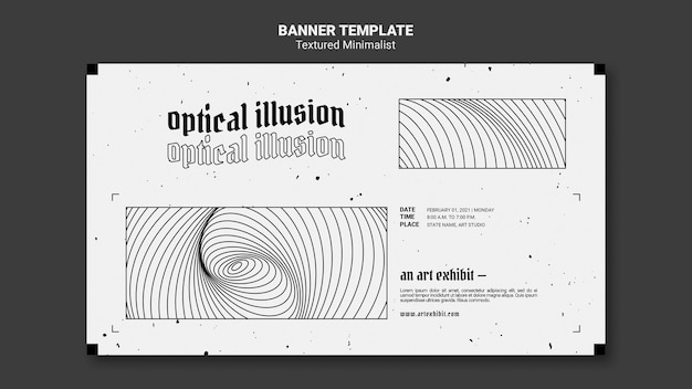Modelo de banner de exibição de arte de ilusão de ótica