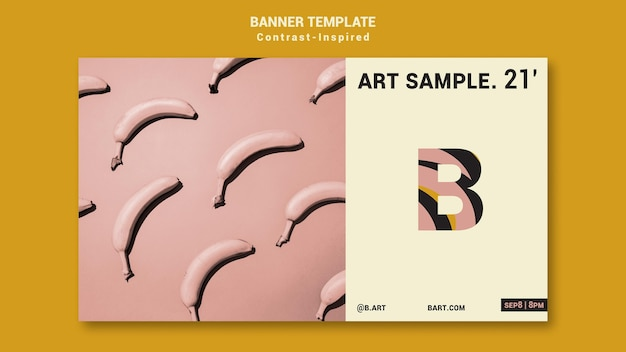 Modelo de banner de exposição de arte inspirado em contraste