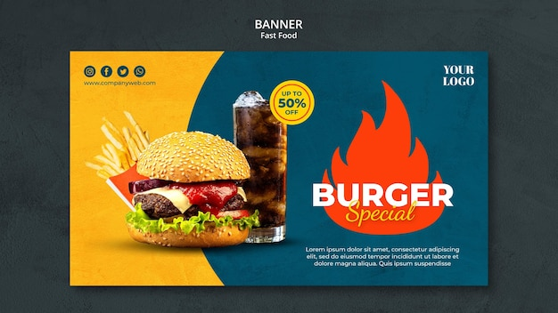 Modelo de banner de fast food