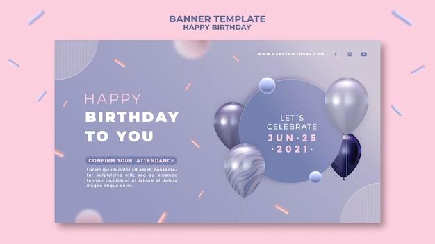 Modelo de banner de feliz aniversário