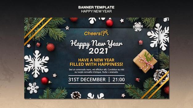 Modelo de banner de feliz ano novo 2021