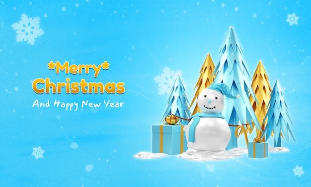 Modelo de banner de feliz natal e feliz ano novo com boneco de neve 3d, árvore e caixas de presente