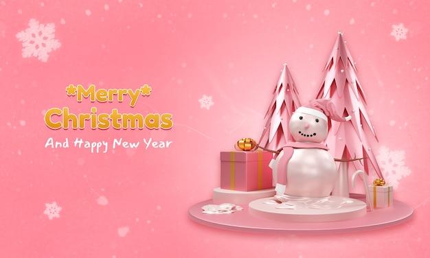 Modelo de banner de feliz natal e feliz ano novo com boneco de neve 3d, pinheiro e caixas de presente