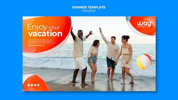 Modelo de banner de férias para amigos