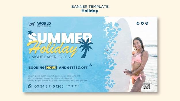 Modelo de banner de férias
