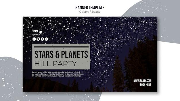 Modelo de banner de festa à noite estrelada