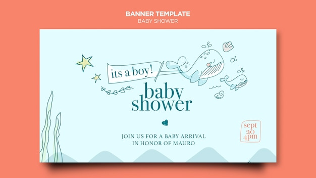 Modelo de banner de festa de bebê