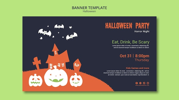 Modelo de banner de festa de halloween com abóbora e morcegos