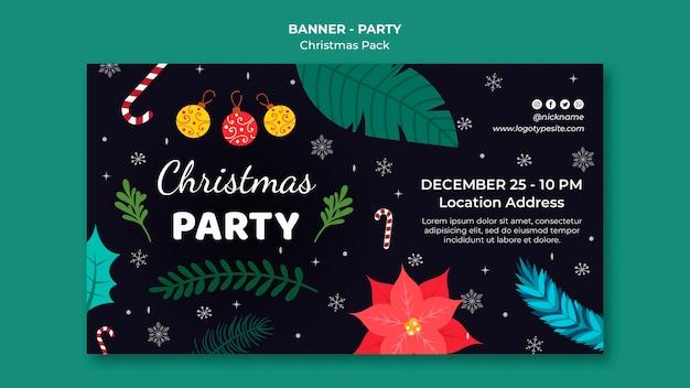 Modelo de banner de festa de natal