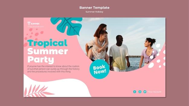 Modelo de banner de festa de verão tropical