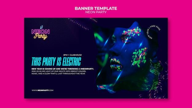 Modelo de banner de festa em néon elétrico