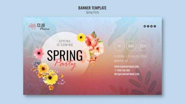 Modelo de banner de festa primavera
