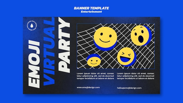Modelo de banner de festa virtual emoji