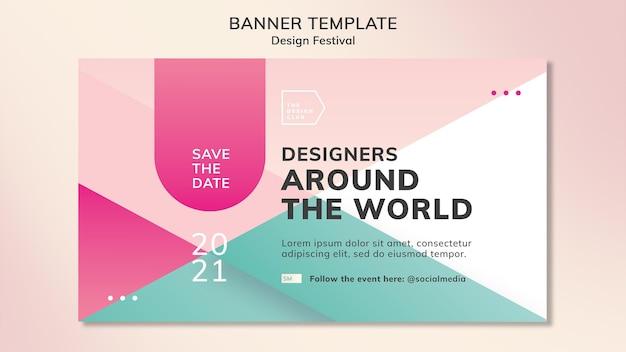 Modelo de banner de festival de design