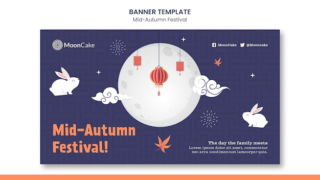 Modelo de banner de festival de meados do outono