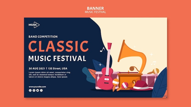 Modelo de banner de festival de música clássica