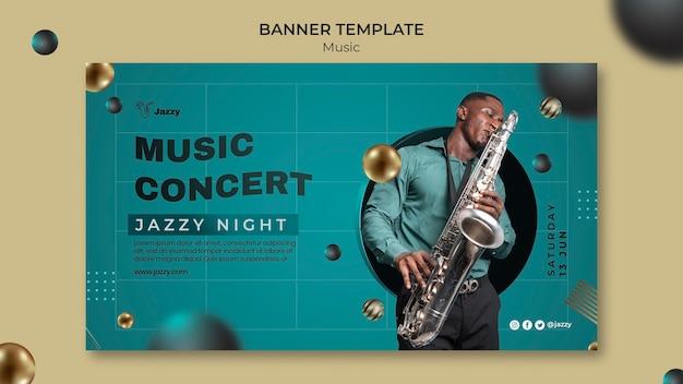 Modelo de banner de festival de música jazz