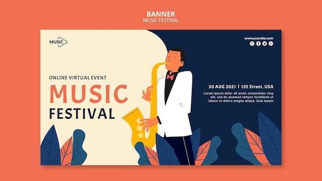 Modelo de banner de festival de música online