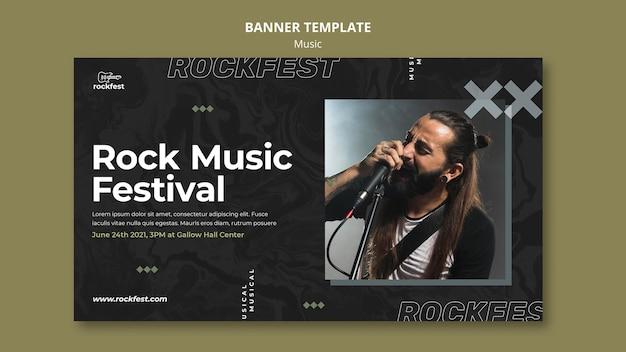 Modelo de banner de festival de música rock
