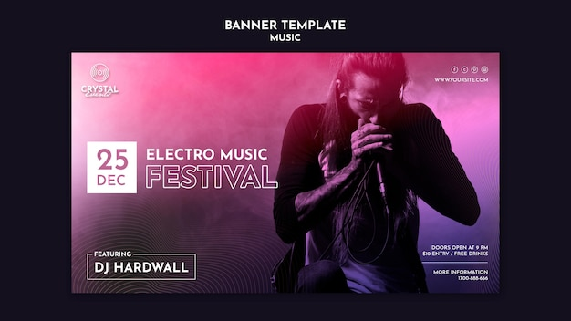 Modelo de banner de festival de música