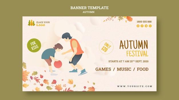 Modelo de banner de festival de outono para crianças