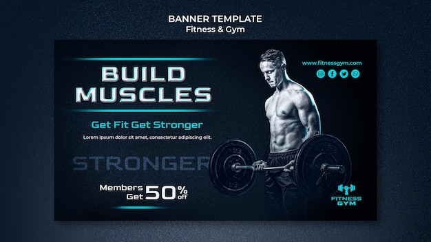 Modelo de banner de fitness de academia