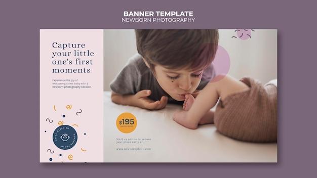 Modelo de banner de fotografia de recém-nascido