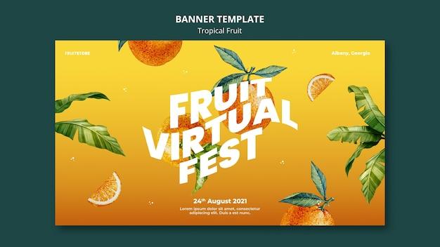 Modelo de banner de frutas tropicais