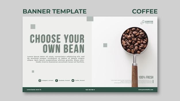 Modelo de banner de grãos de café
