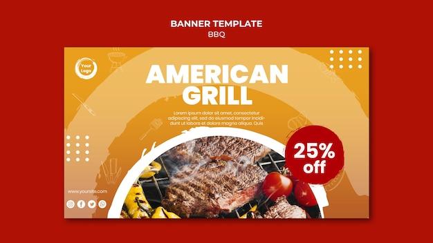 Modelo de banner de grelha de carne americana