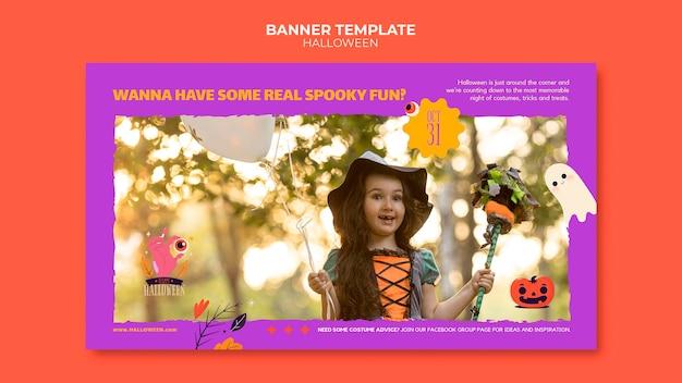 Modelo de banner de halloween com foto