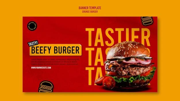 Modelo de banner de hambúrguer grunge