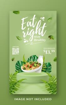 Modelo de banner de história do instagram para promoção de menu saudável