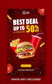 Modelo de banner de histórias de instagram de promoção de menu de comida de hambúrguer
