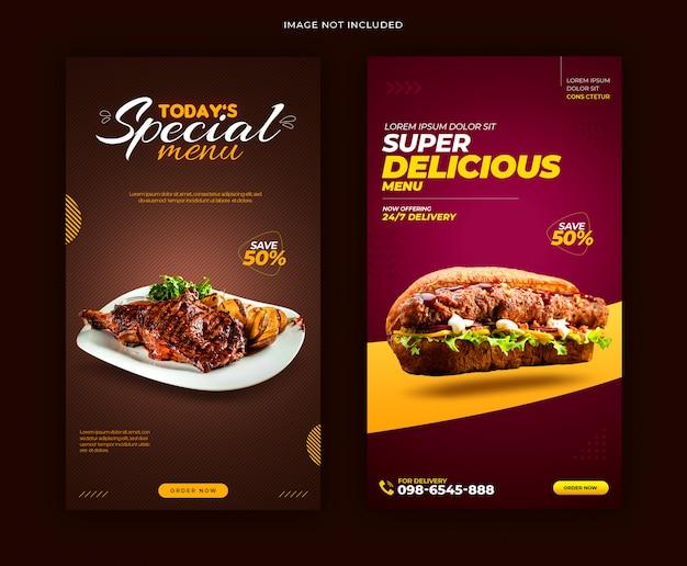 Modelo de banner de histórias deliciosas de menu de comida deliciosa