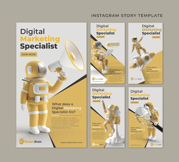 Modelo de banner de histórias do instagram de marketing digital de astronauta