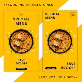 Modelo de banner de histórias do instagram de promoção de menu de comida