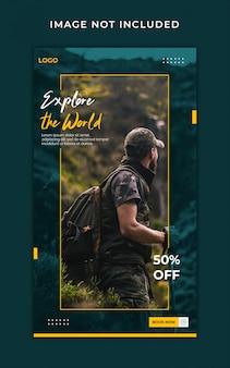Modelo de banner de histórias do instagram de viagem