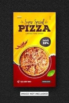 Modelo de banner de histórias do instagram para menu de comida