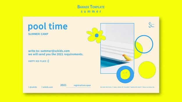 Modelo de banner de horário de piscina de verão